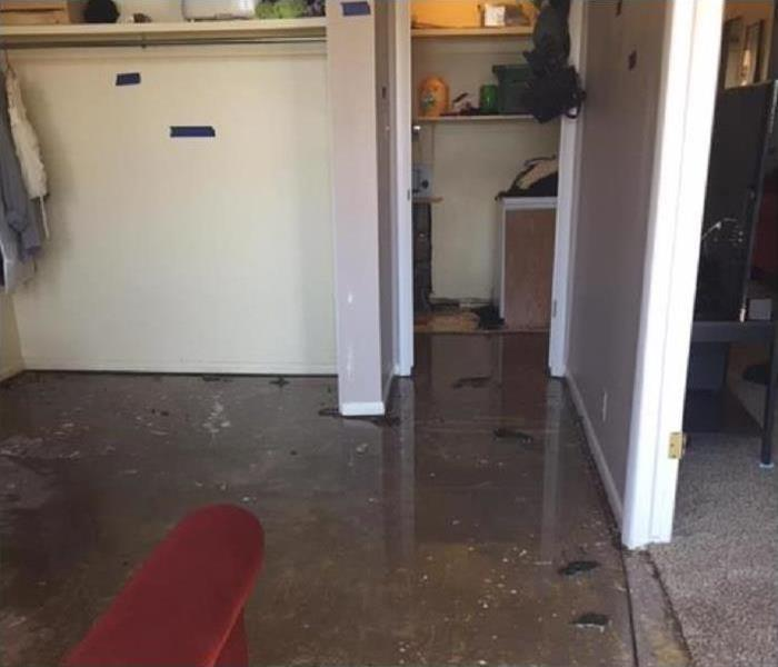 Standing water in a room.