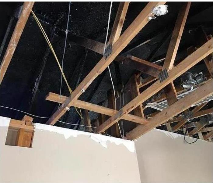 Roof damaged after fire